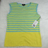 Rondina New York Womens Top Blouse Sleeveless Knitted Classic Neck Cotton Size L