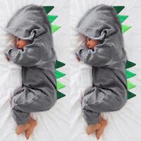 Cute Newborn Baby Boy Cartoon Dinosaur Hooded Romper Jumpsuit Outfit Kid Clothes