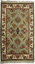 Light Olive Floral Design Handmade 2X3 Agra Jaipur Oriental Rug Kitchen Carpet