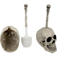 Skull Toilet Brush Holder Set Skeleton Gothic Bathroom Decor Toilet Bowl Brush