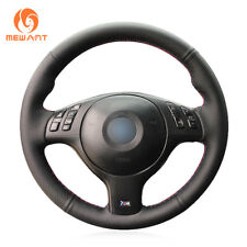 Black Leather Steering Wheel Cover for BMW E46 E39 330i 540i 525i 530i 330Ci M3