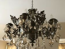 ANTIQUE BRONZE 12 ARMS CHANDELIER