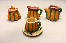 Ceramic Miniature Four Piece Pottery Brown With Shucked Corn Motif