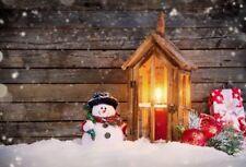 Christmas Night Backdrop Winter Snow Background Wood Board Studio Photo Prop 7x5
