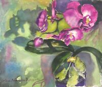 "Original watercolor painting by artist Zina Andresini Poliszuk ""Orchid"""