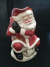 Fitz & Floyd Old World Santa 2Qt water pitcher traditional red gold Holly 1988