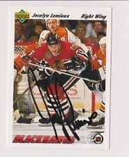 91/92 Upper Deck Jocelyn Lemieux Chicago Blackhawks Autographed Hockey Card