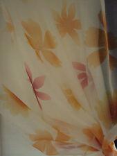 2 Vorhänge Gardinen Store weiß mandarine Blume Band B/H 125x 245 cm transparent