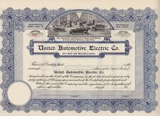 UNITED AUTOMOTIVE ELECTRIC COMPANY UNISSUED STOCK CERTIFICATE EARLY 1900'S