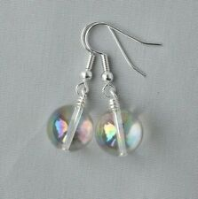 MYSTIC COATED CLEAR QUARTZ ROUND DROP EARRINGS ~ SILVER PLATED