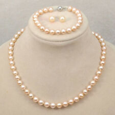 Genuine Natural 7-8mm Pink Freshwater Pearl Necklace Bracelet Earrings PN1578