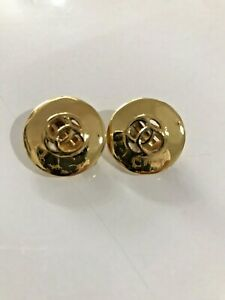 Vintage Retro 1980s Costume Jewellery Gold Tone Button Design Clip On Earrings
