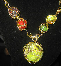"""multi colored marbles gold wire wrapped gold viking knit chain necklace 28"""" #087"""