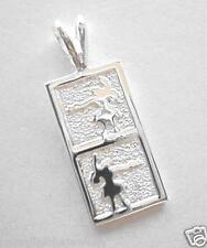 10mm Sterling Silver Hawaiian Vertical 2 Pose Hula Girl Dancer Flat Bar Pendant