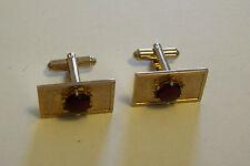 Vintage Cufflinks - Hayward Red Stone Goldtone
