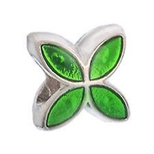 Flower Metallic Green Enamel Silver Plated Spacer Charm for European Bracelets