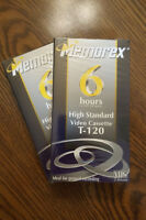 Memorex (2) Blank VHS Tape 6 Hour T-120 Video Cassette Sealed New