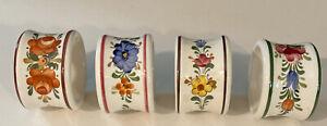 Vintage Set of 4 White Porcelain Napkin Ringswith Flowers