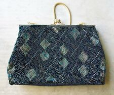 *Vintage Style Hand Beaded Dark Green Evening Bag