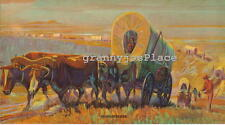 1930's Calendar Art Lithograph, HOME SEEKERS, Western Wagon Train