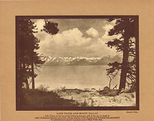Antique Lake Tahoe California Sierra Photo Gravure Print