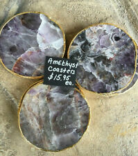 "4 "" Amethyst Coaster, Rose Gold Plated,Coaster,Amethyst Slice, Gold Trim(1)"