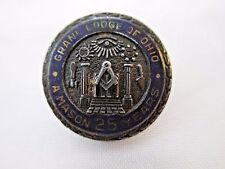 Vintage MASONIC GRAND LODGE OF OHIO 25 Year Member Pin Sterling Silver 854B
