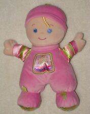 Fisher Price Pink Baby's First 1st Doll Brilliant Basics Plush Rattle Soft Toy