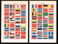 1922 Double-Sided Antique Print - Nations Flags, Iceland, Australia, Ireland