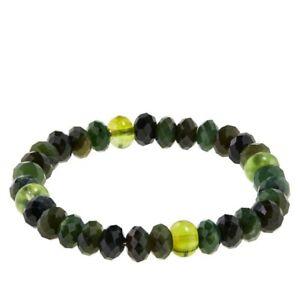 Jay King Nephrite Jade and Green Amber Bead Stretch Bracelet