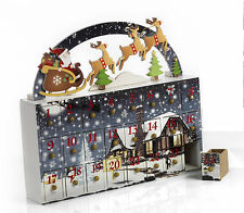 Calendario Avvento Babbo Natale/Renne, 30 cm in legno, by Paben