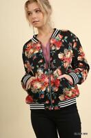 NWT Umgee Floral Print Quilted Bomber Zip Jacket Black
