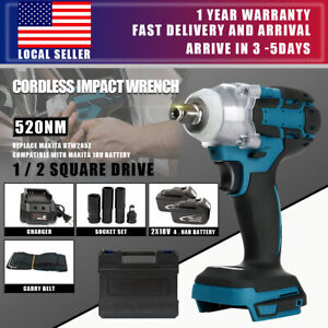 "Brushless Cordless Impact Wrench With 2 Battery Charger 1/2"" Replace Makita USA"