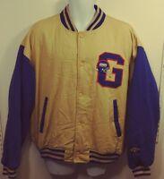 NY Giants Football Logo 7 Team NFL Jacket Mens Size Large Blue Red Khaki Vintage