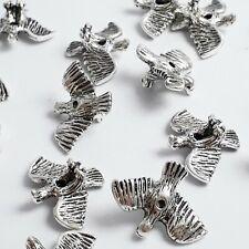 6pcs 3D Eagle Bird Metal Novelty Beads Antique Silver 18x14mm - B0106927