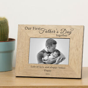 """Personalised """"Our First Father's Day together"""" Wooden Photo Frame - Add message"""