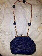 Italian Vintage Navy Blue Woven Straw Beaded Handbag Pom Pom Gold Chain