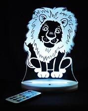 LION KING OF JUNGLE PERSONALIZED NAME LED NIGHT LIGHT COLOUR CHANGE KIDS ROOM