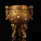 "4.72"" China Pure copper gilt inlay gemstone Dragon elephant head Wine Glass cup"