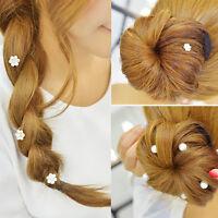 12pcs Bridal Wedding Prom Crystal Flower Pearl Hair Coils Swirl Spiral Twist Pin