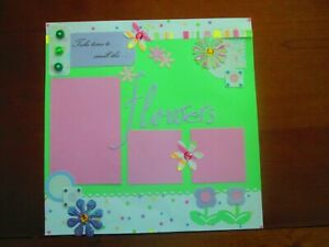 FLOWERS PREMADE SCRAPBOOK PAGE -  12 X 12 PAGE - NEW