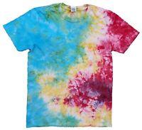 Rainbow Scrunch TIE DYE T SHIRT Spiral Tye Die Tshirt Festival Rave Tee Top Kids