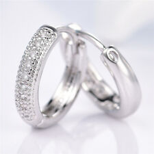 Silver & Gold Filled Hoop Ring Pave Diamond Rhinestone Women Lady Party Earrings
