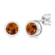 1.20 Ct Round Orange Mystic Topaz 925 Silver bezel Stud Earrings