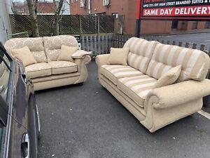 💛Luxury Gold Sofa Set 🤎deep Seats, Round Arm 💛 Traditional Style 🤎 3 + 2