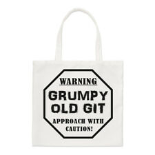Warning Grumpy Old Git Caution Small Tote Bag - Dad Fathers Day Funny