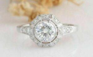 14K White Gold Over 1CT Round cut Diamond Engagement  Art Deco  Ring