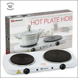 2500W Electric Hob Dual Double Ring Table Top Hot Plate Powerful Portable Cooker