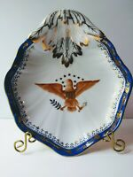 ANDREA by SADEK Federal American Eagle Collector Dish Plate Gold Cobalt Blue