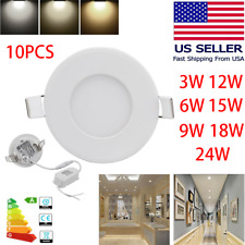 10PCS 9W 12W 15W 18W 24W LED Recessed Ceiling Panel Down Lights Lamp Fixtures